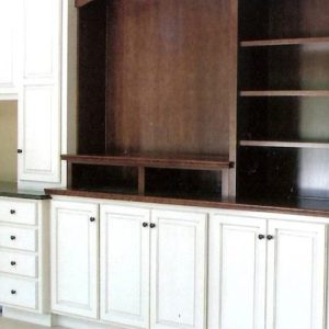 White & Stained Mahogany Entertainment Unit